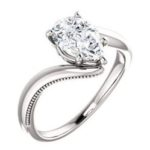 solitaire pear ring mount engagement ring