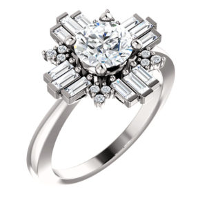 14K White 6.5 mm Round 1/2 CTW Diamond Semi-Set Engagement Ring