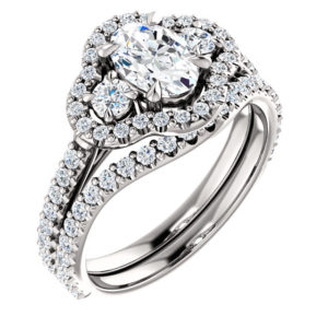 14K White 7x5 mm Oval Engagement Ring