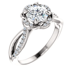 14K White 5 mm Cushion 1/6 CTW Diamond Semi-Set Engagement Ring