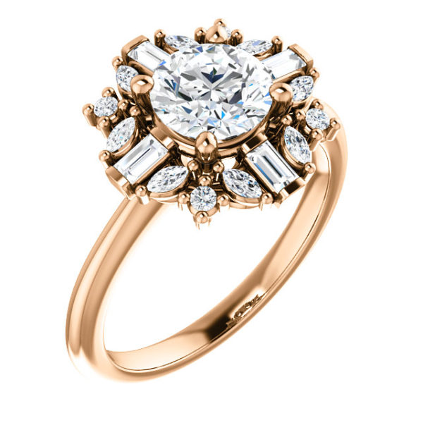 14K Rose 6x4 mm Oval Engagement Ring